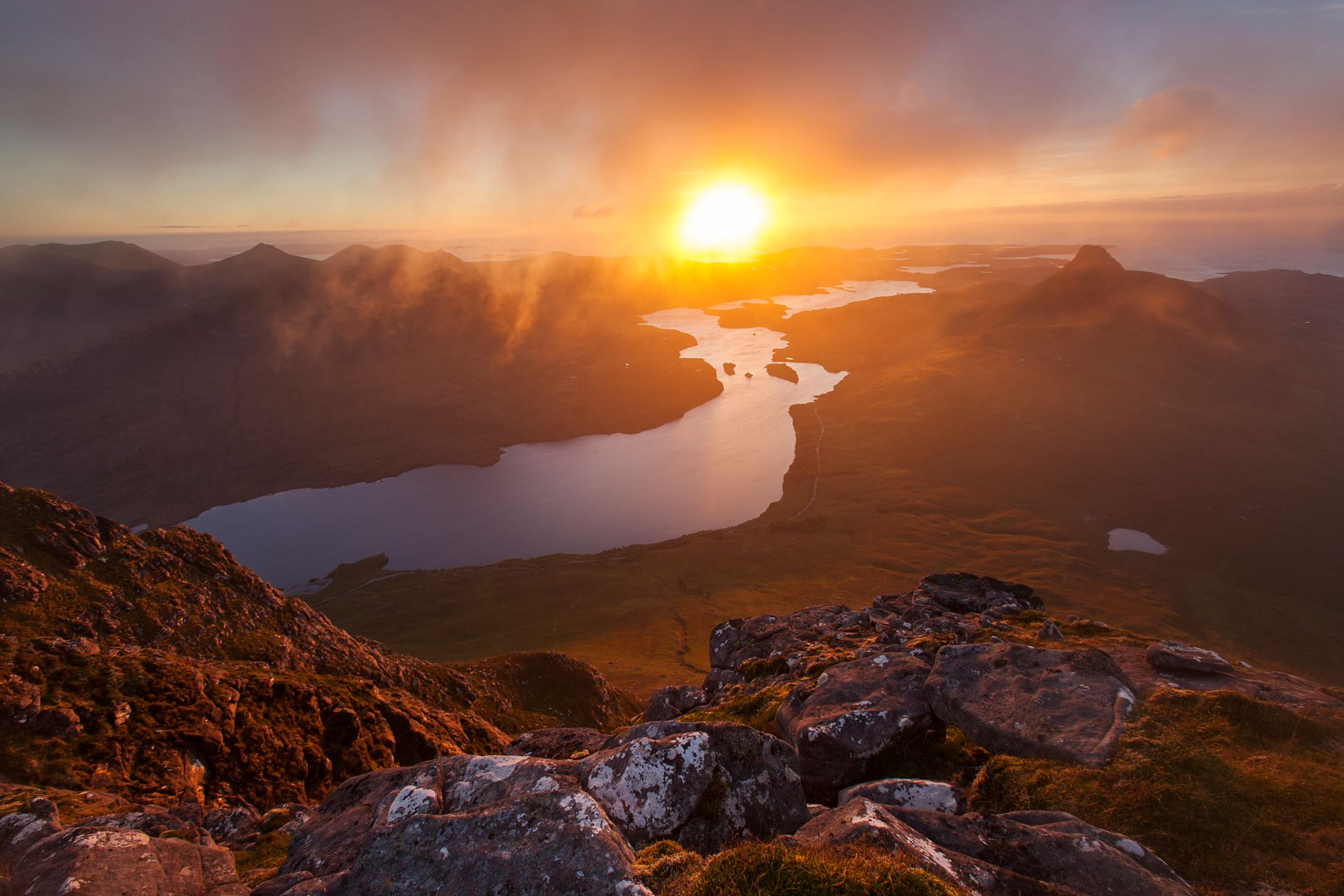 Loch Lurgainn and Stac Pollaidh at sunset, Assynt, Scotland