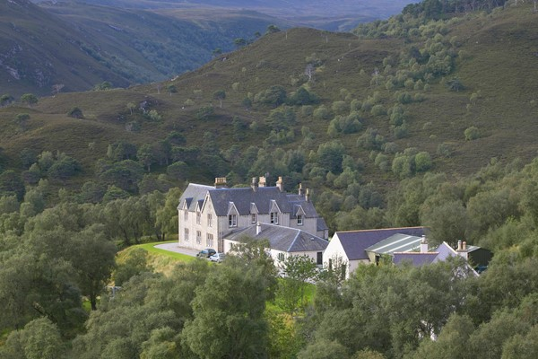 Alladale Lodge, Sutherland, Scotland. Recently refurbished shooting lodge to accommodate eco-tourism guests to Alladale reserve where plans include reintroducing native species such as wolf.