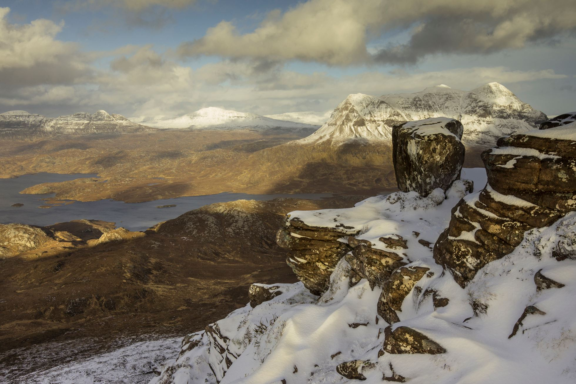 View across Inverpolly Forest from top of Stac Pollaidh, Coigach, Scotland.