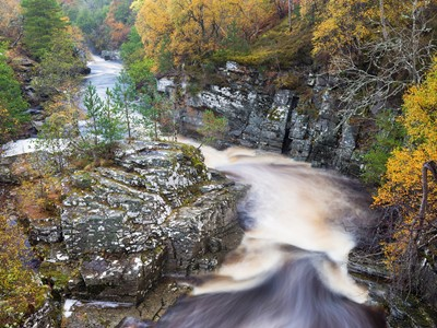 River Tromie in autumn, Cairngorms National Park, Scotland.