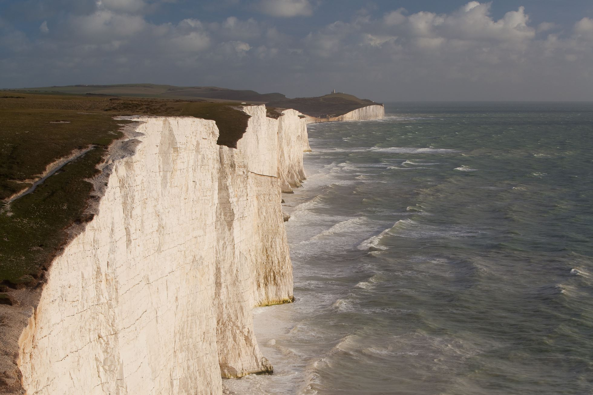 Seven Sisters chalk cliffs, South Downs, England.