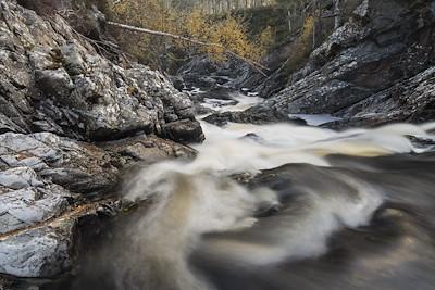 River Affric running through rocky gorge, Glen Affric, Scotland.